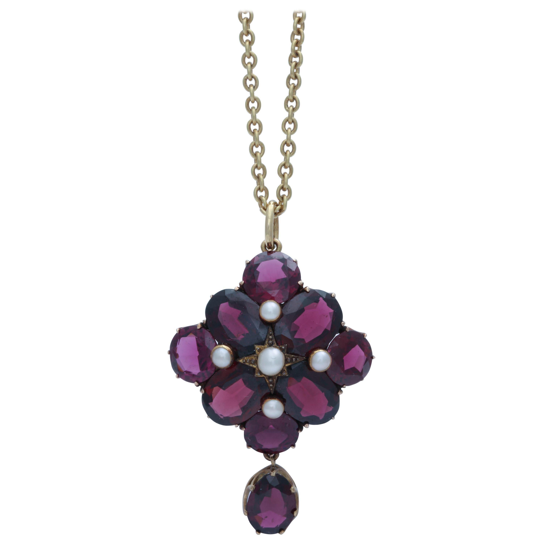 Victorian Garnet and Pearl Pendant