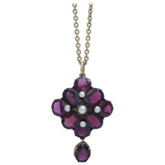Victorian Garnet and Pearl Pendant