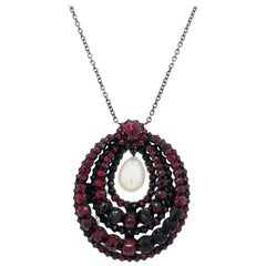 Victorian Garnet and Pearl Sterling Silver Necklace