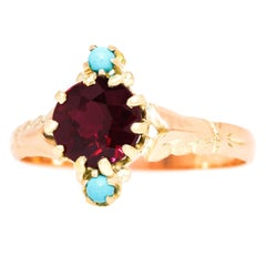 Victorian Garnet and Turquoise-Set Gold Ring