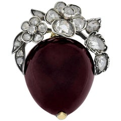 Victorian Garnet Cabochon and Rose Cut Diamond Flower Pin/Pendant