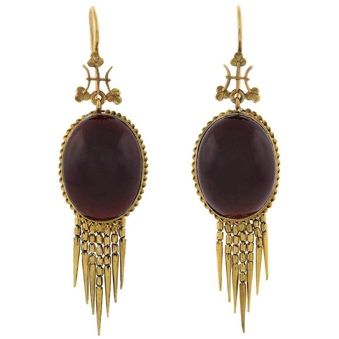 Victorian Garnet Cabochon Foxtail Fringe Earrings