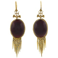 Victorian Garnet Cabochon Foxtail Fringe Earrings