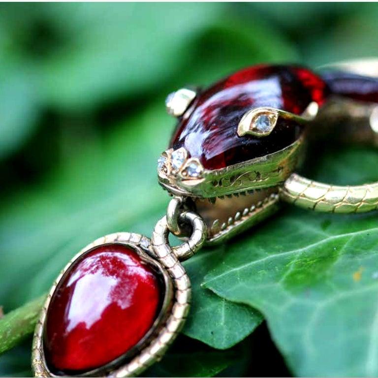 Rose Cut Victorian Garnet Diamond Antique Snake Pendant Necklace For Sale