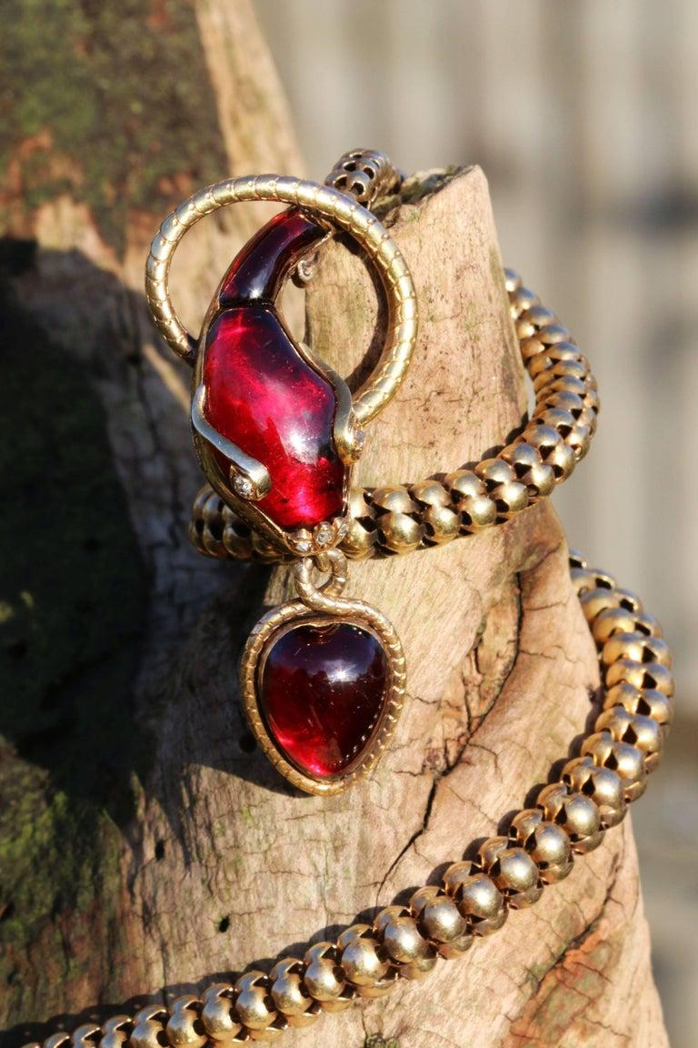 Victorian Garnet Diamond Antique Snake Pendant Necklace For Sale 3