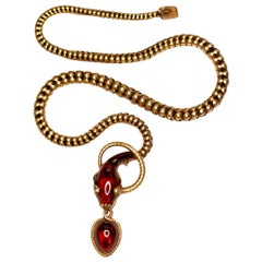 Victorian Garnet Diamond Antique Snake Pendant Necklace