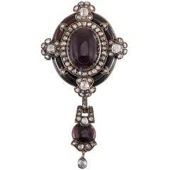 Victorian Garnet Diamond Pin Pendant with Original Box
