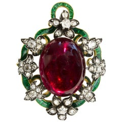 Victorian Garnet Enamel and Diamond Pendant or Brooch