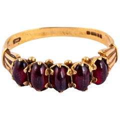 Victorian Garnet Five-Stone and 9 Carat Gold Band