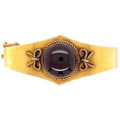 Victorian Garnet Gold Cuff Bangle Bracelet Estate Fine Jewelry