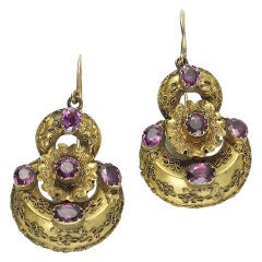 Victorian Garnet Gold Earrings