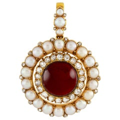 Victorian Garnet, Half Pearl and Diamond Brooch or Pendant