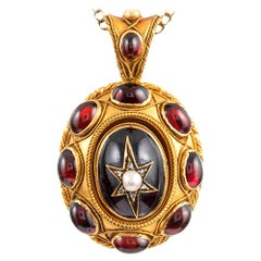 Victorian Garnet Locket Pendant with Star