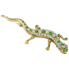 Victorian Garnet, Opal and Diamond Lizard Brooch