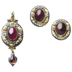 Victorian Holbeinesque Garnet Pearl and Enamel Earrings and Pendant Gold Suite