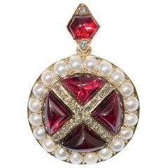 Victorian Garnet, Pearl and Diamond Pendant