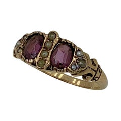Victorian Garnet Pearl Ring Gold Antique Wedding Engagement Stacking Ring