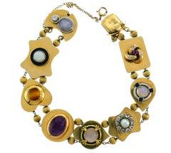Victorian Gemstones Gold Slide Bracelet