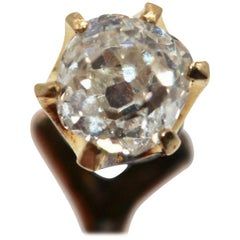 Victorian Gentleman's 18 Kt Yellow Gold and Solitaire Diamond Stick Pin