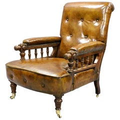 Victorian Gentlemen's Reclining Leather Armchair