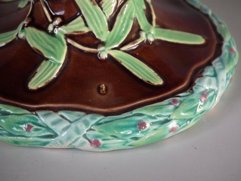 English Victorian George Jones Majolica Mistletoe Epergne For Sale