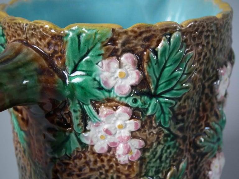 Victorian George Jones Majolica Rustic Blossom Pitcher For Sale 7