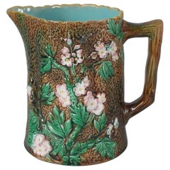 Victorian George Jones Majolica Rustic Blossom Pitcher