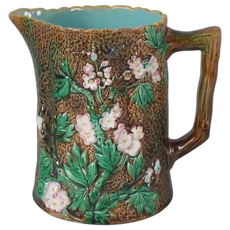 Victorian George Jones Majolica Rustic Blossom Pitcher For Sale