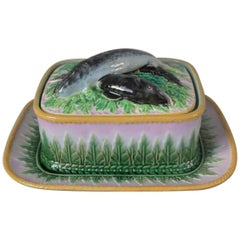 Victorian George Jones Majolica Sardine Dish, Cover and Stand
