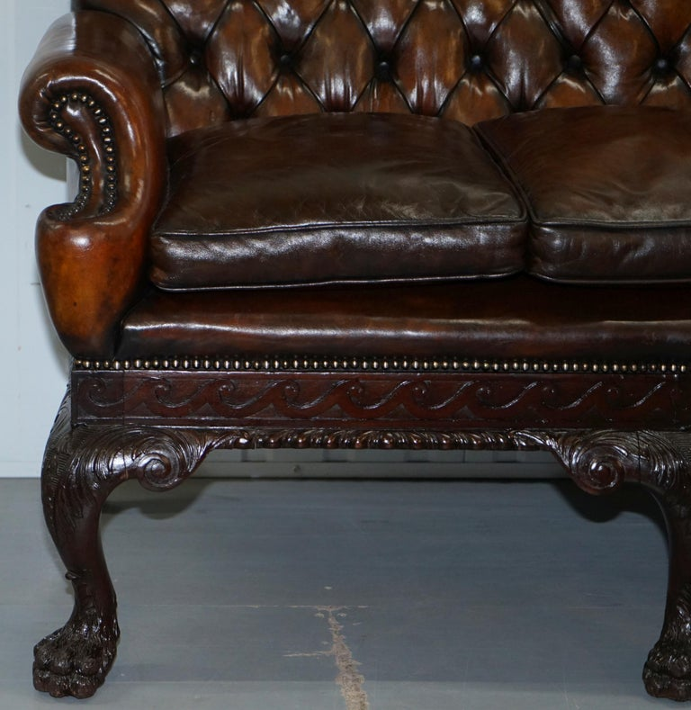 Leather Sofas For Sale In Northern Ireland: Victorian Georgian Irish Brown Leather Chesterfield Sofa
