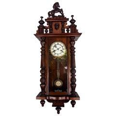 Victorian German Walnut Pendulum Wall Clock, circa 1890s