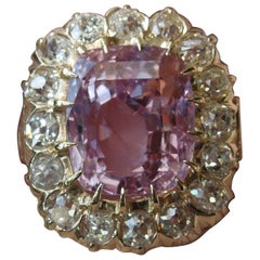 Victorian GIA 10.10 Carat Pink Sapphire and Diamond Ring