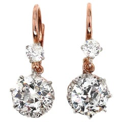 Victorian GIA 3.0 Carat Old European Diamond Dangling Platinum Gold Earrings