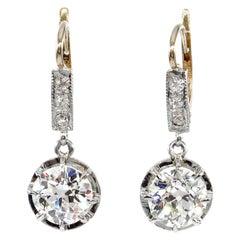 Victorian GIA 3.29 Carat Old European Diamond Dangling 18K Gold Drop Earrings