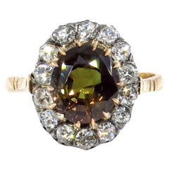 Victorian GIA 4.42ctw Natural Alexandrite Old Mine Diamonds Antique Cluster Ring