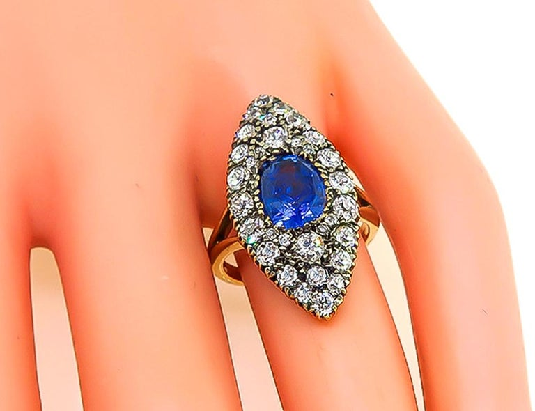 Cushion Cut Victorian GIA Certified 3 Carat No Heat Sapphire Diamond Ring For Sale