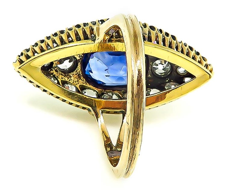 Victorian GIA Certified 3 Carat No Heat Sapphire Diamond Ring In Good Condition For Sale In New York, NY