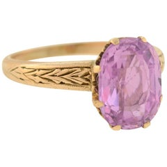 Victorian GIA Certified 3.00 Carat Natural Ceylon Pinkish Purple Sapphire Ring