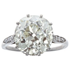 Victorian GIA Old European Cut 5.71 Carat Diamond Platinum Ring
