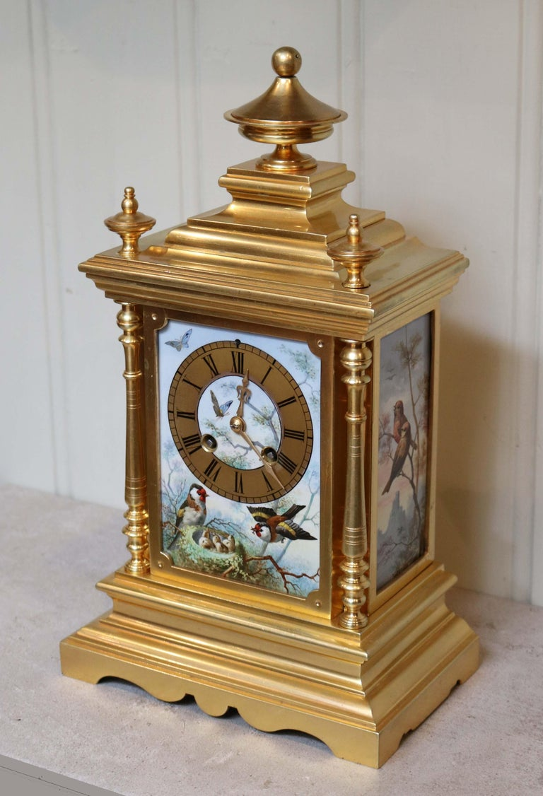 French Victorian Gilt and Porcelain Panel Mantel Clock For Sale