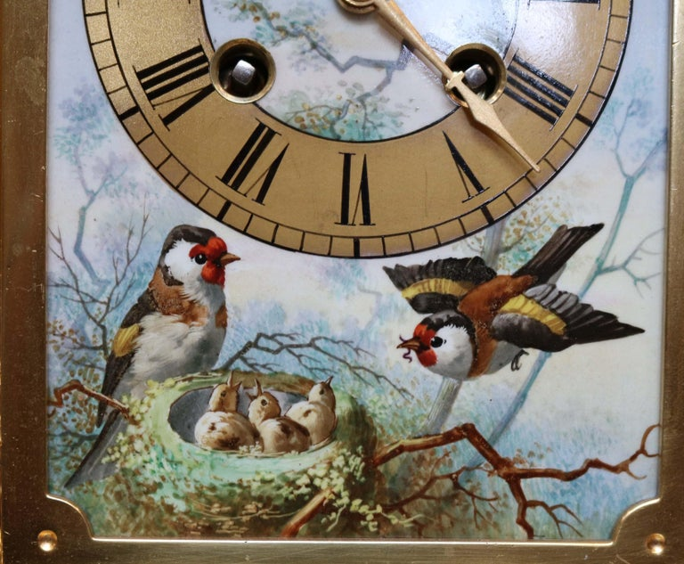 Victorian Gilt and Porcelain Panel Mantel Clock In Good Condition For Sale In Beaconsfield, GB