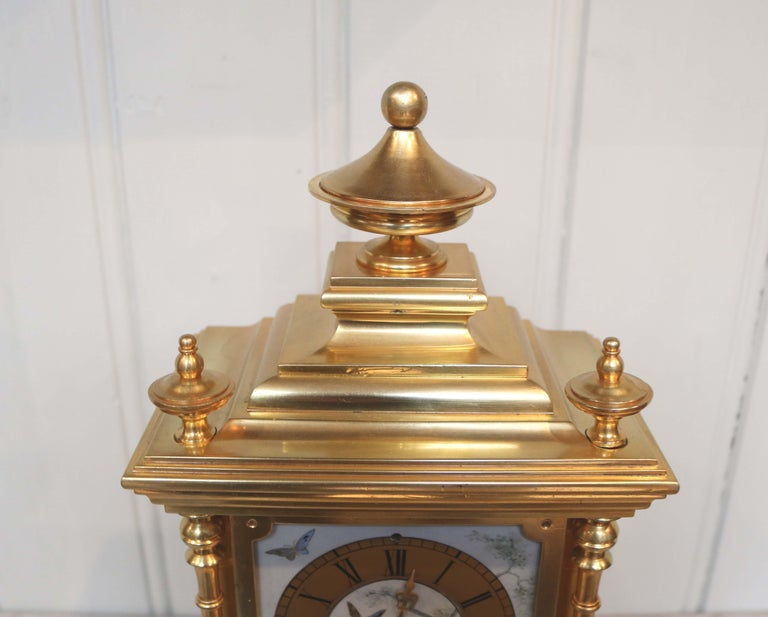 19th Century Victorian Gilt and Porcelain Panel Mantel Clock For Sale