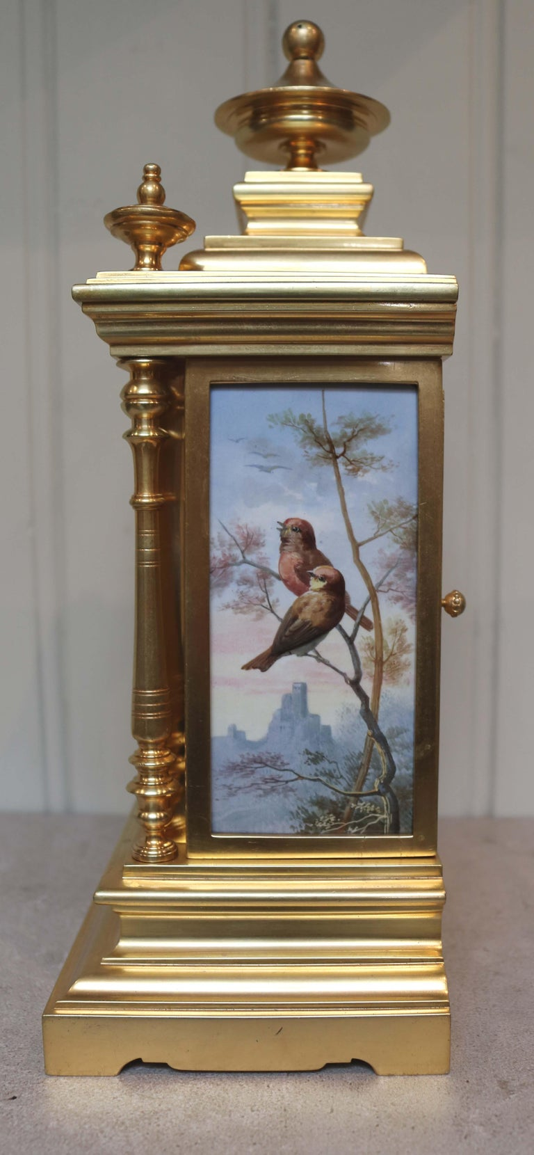 Victorian Gilt and Porcelain Panel Mantel Clock For Sale 1