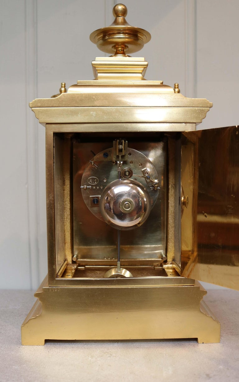 Victorian Gilt and Porcelain Panel Mantel Clock For Sale 3
