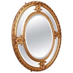 Victorian Giltwood Oval Marginal Plate Mirror