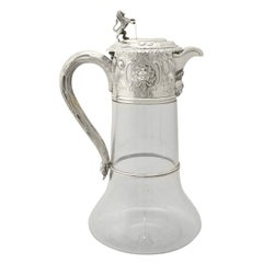 Victorian Glass and Sterling Silver Mounted Claret Jug