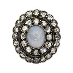 Victorian Glorious 6.40 Carat Star Sapphire 1.90 Ct Rose Cut Diamond Rare Ring