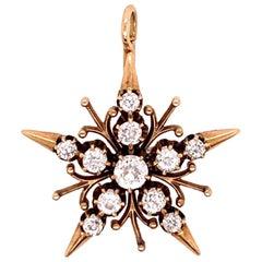 Victorian Gold 1 Carat Natural Old European Cut Diamond Pendant, circa 1920