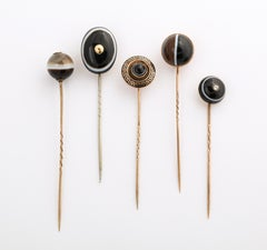 Victorian Gold and Banded Agate Stickpin Collection