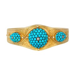 Victorian Gold and Bombé Turquoise Tapering Bangle Bracelet with Diamond Accents